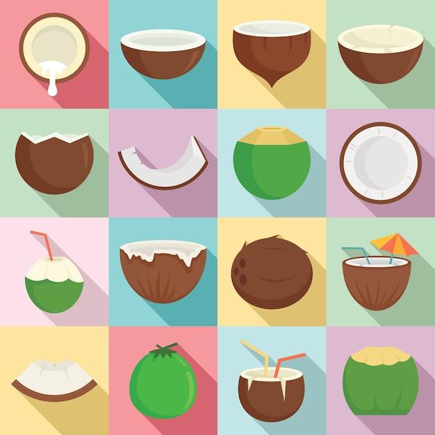 Conjunto de ícones de coco, estilo simples Vetor Premium