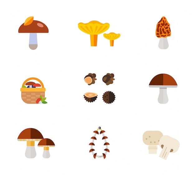 Conjunto de ícones de cogumelos Vetor grátis