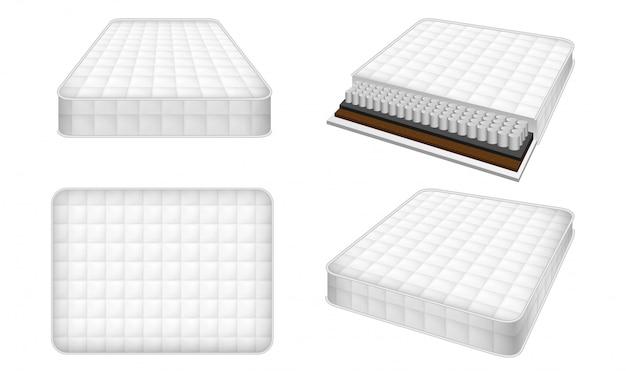 Conjunto de ícones de colchão, estilo realista Vetor Premium