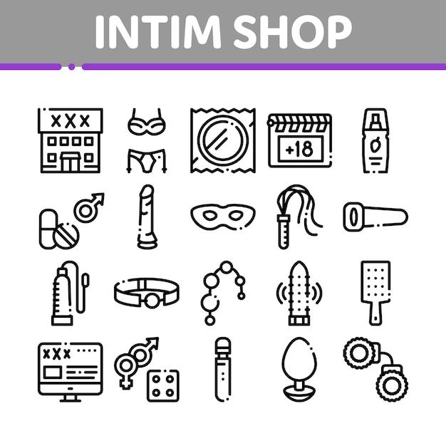 Conjunto de ícones de coleção de brinquedos sexuais da loja intim Vetor Premium