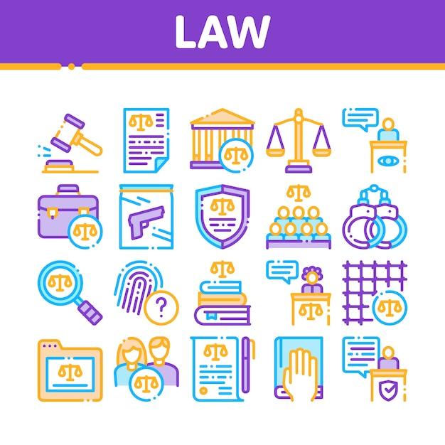 Conjunto de ícones de coleção de lei e julgamento Vetor Premium