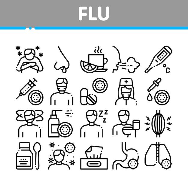 Conjunto de ícones de coleção médica de sintomas de gripe Vetor Premium