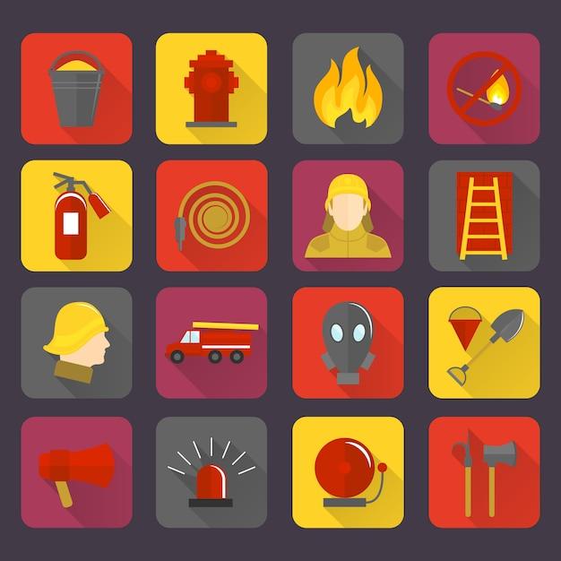 Conjunto de ícones de combate a incêndios Vetor Premium