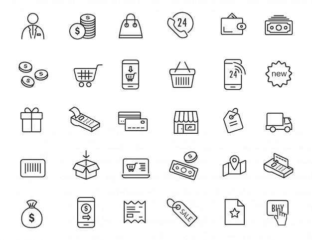 Conjunto de ícones de comércio eletrônico linear. ícones de compras em design simples. Vetor Premium