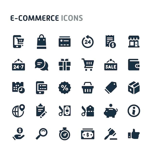 Conjunto de ícones de comércio eletrônico. série de ícone preto fillio. Vetor Premium
