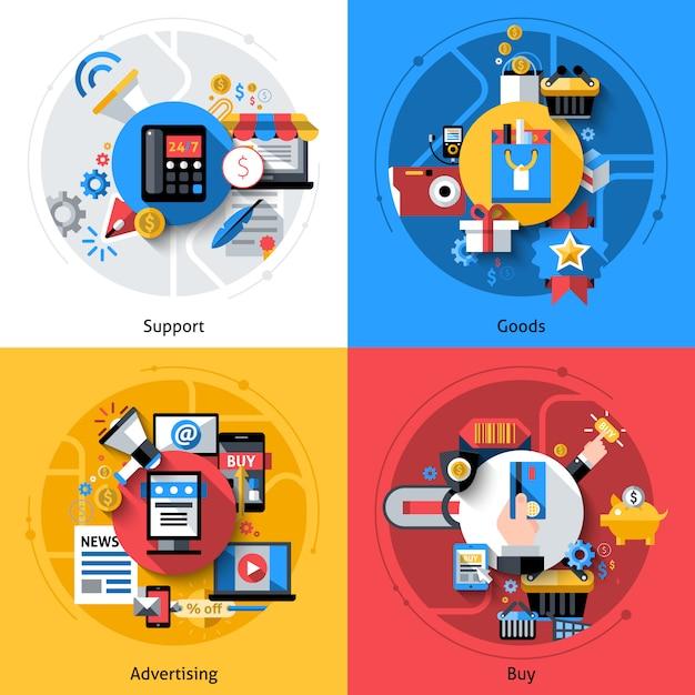 Conjunto de ícones de comércio eletrônico Vetor grátis
