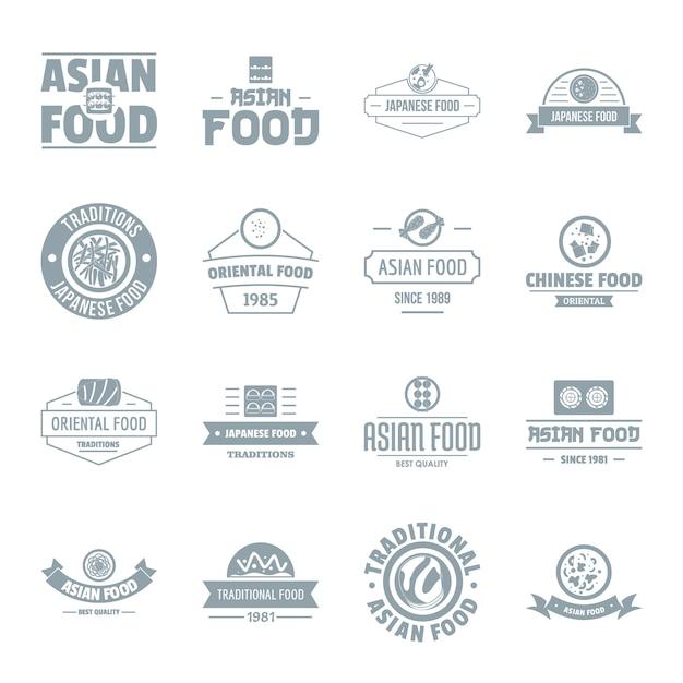 Conjunto de ícones de comida asiática logotipo Vetor Premium