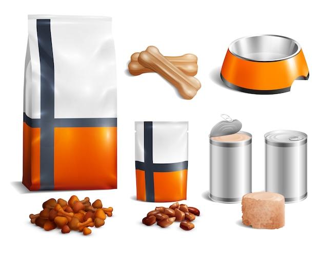 Conjunto de ícones de comida de cachorro Vetor grátis
