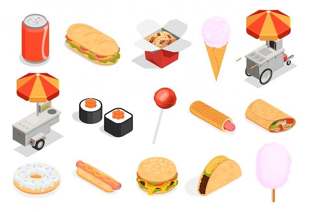 Conjunto de ícones de comida de rua Vetor grátis
