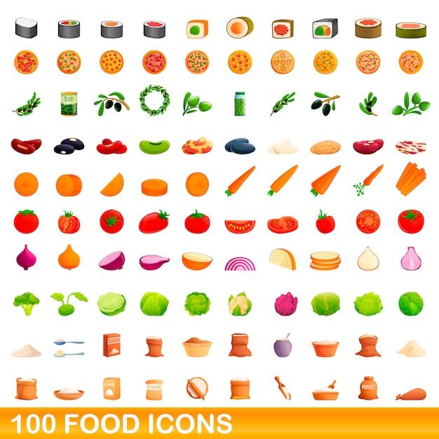 Conjunto de ícones de comida, estilo cartoon Vetor Premium