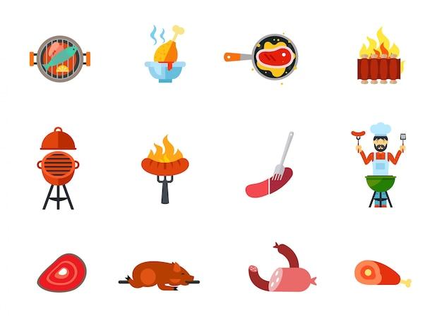Conjunto de ícones de comida frita Vetor grátis