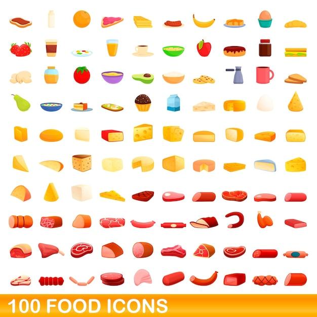Conjunto de ícones de comida. ilustração dos desenhos animados de ícones de comida em fundo branco Vetor Premium