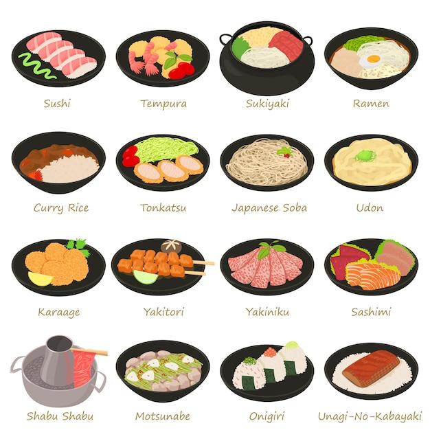 Conjunto de ícones de comida japonesa Vetor Premium