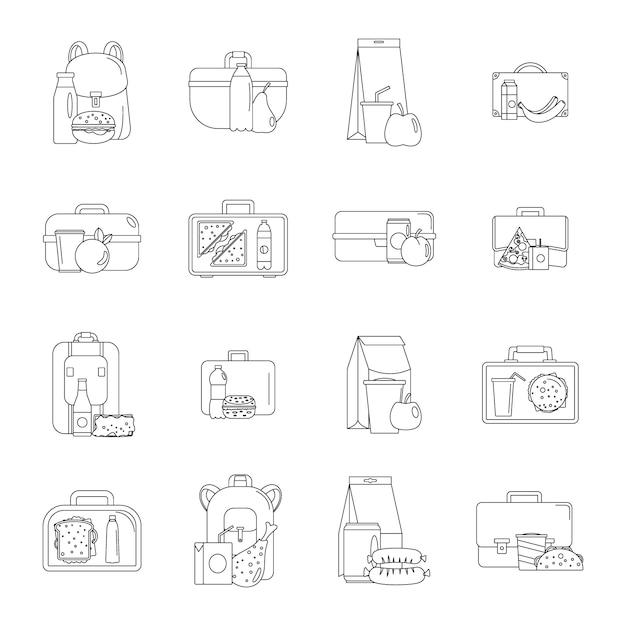 Conjunto de ícones de comida lancheira Vetor Premium
