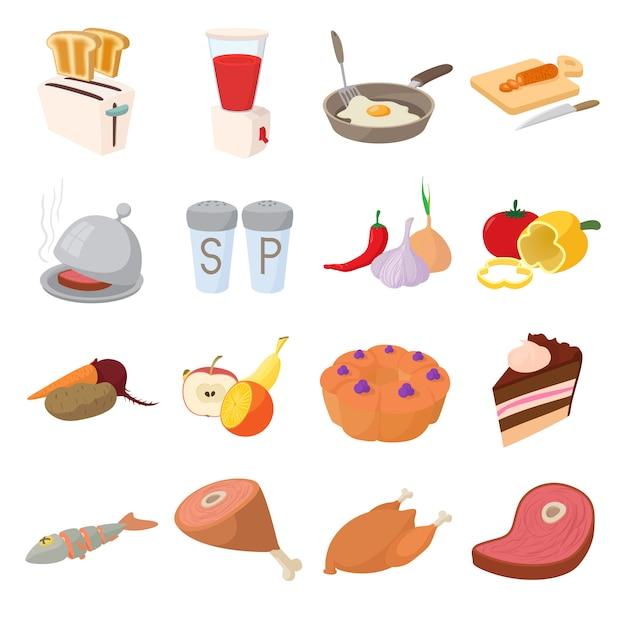 Conjunto de ícones de comida no vetor de estilo dos desenhos animados Vetor Premium