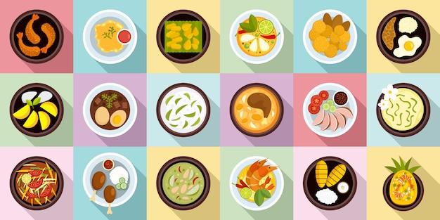 Conjunto de ícones de comida tailandesa Vetor Premium