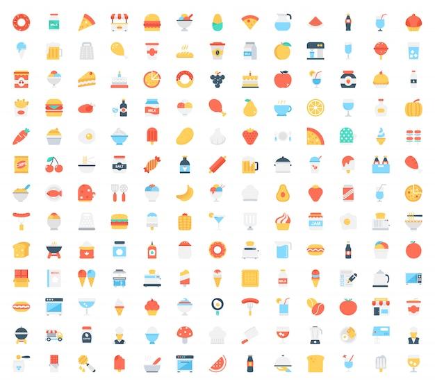 Conjunto de ícones de comida Vetor Premium