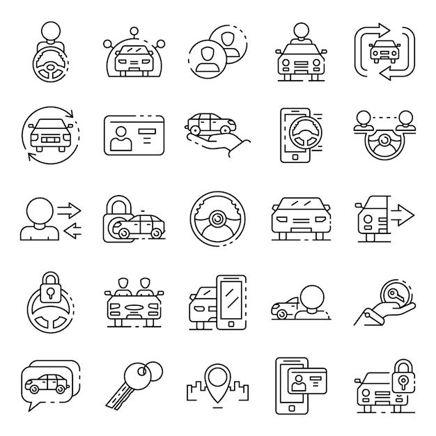 Conjunto de ícones de compartilhamento de carro, estilo de estrutura de tópicos Vetor Premium
