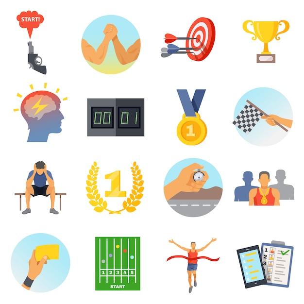 Conjunto de ícones de competição Vetor grátis