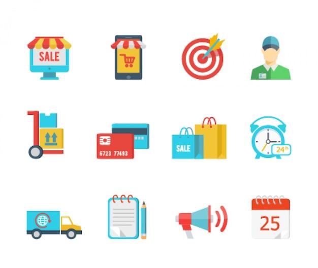 Conjunto de ícones de compra e entrega de vetor plano Vetor grátis
