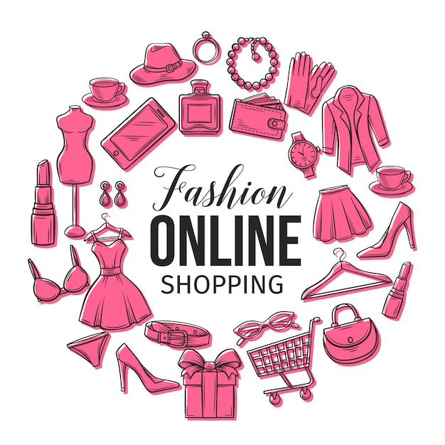 Conjunto de ícones de compras de moda on-line Vetor Premium