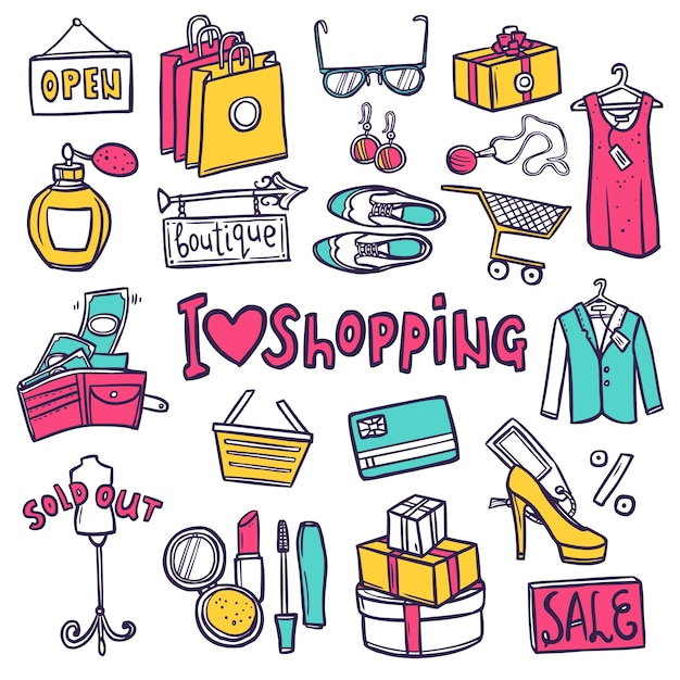 Conjunto de ícones de compras Vetor grátis