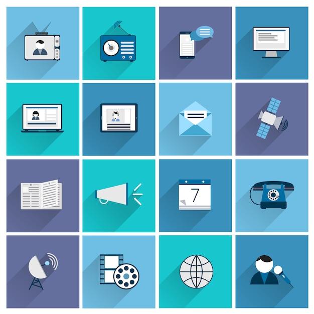 Conjunto de ícones de comunicação de mídia plana de postar promoção marketing social isolado ilustração vetorial Vetor Premium