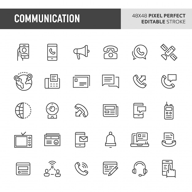 Conjunto de ícones de comunicação Vetor Premium
