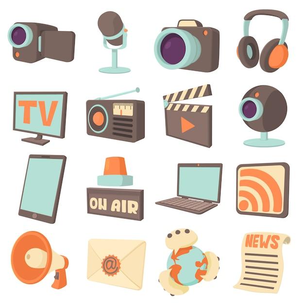 Conjunto de ícones de comunicações de mídia Vetor Premium