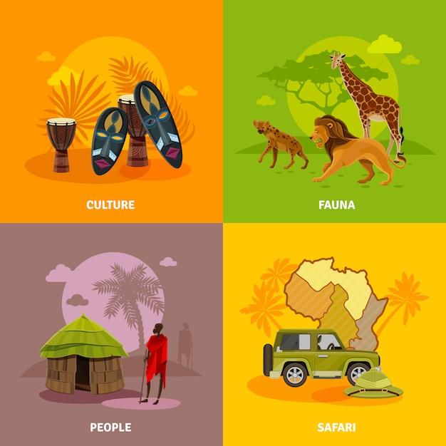 Conjunto de ícones de conceito de áfrica Vetor grátis