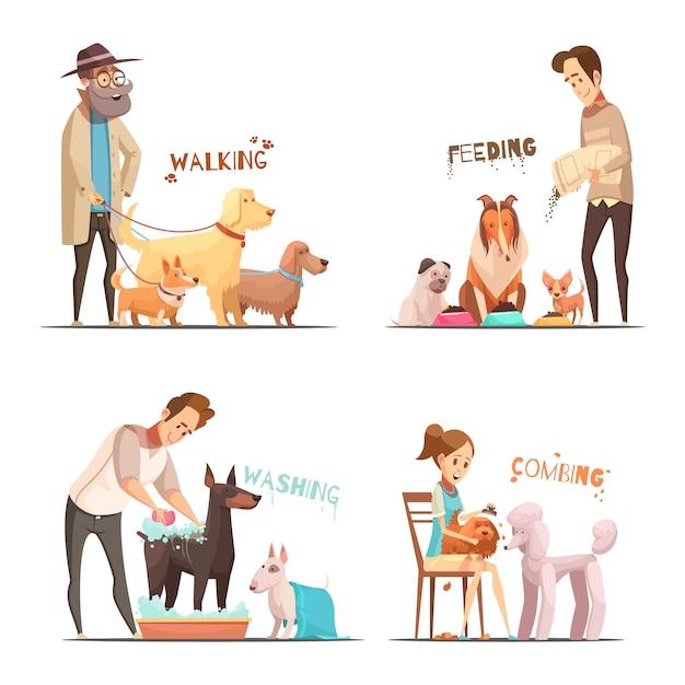 Conjunto de ícones de conceito de cão com andando e símbolos de lavagem dos desenhos animados isolado ilustração vetorial Vetor grátis