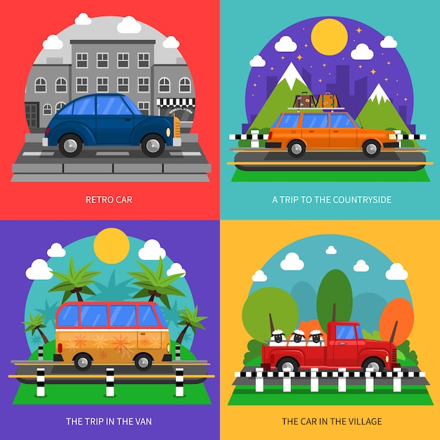 Conjunto de ícones de conceito de carros Vetor grátis