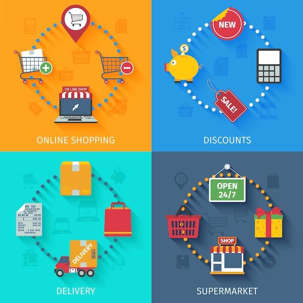Conjunto de ícones de conceito de compras Vetor grátis
