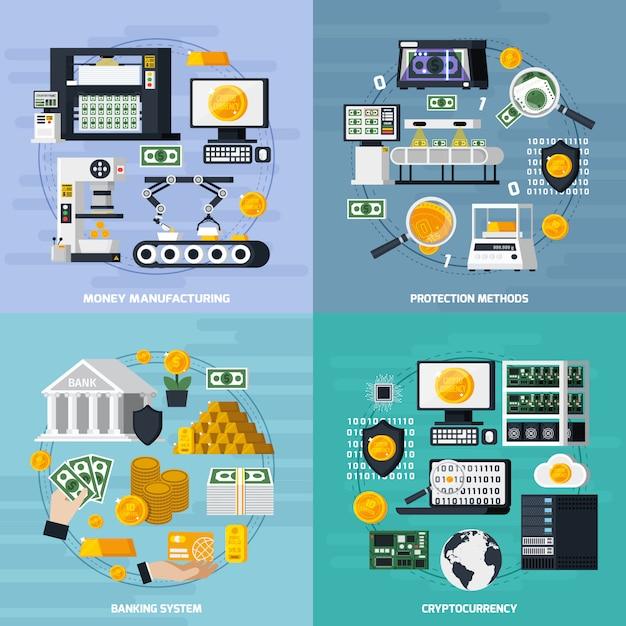 Conjunto de ícones de conceito de fabricação de dinheiro Vetor grátis