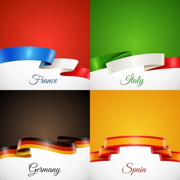 Conjunto de ícones de conceito de fita de design de bandeira Vetor grátis