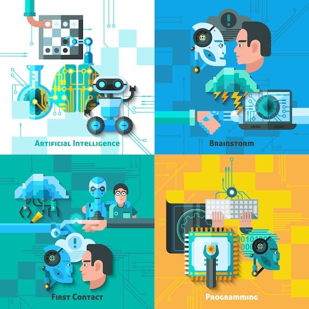 Conjunto de ícones de conceito de inteligência artificial Vetor grátis