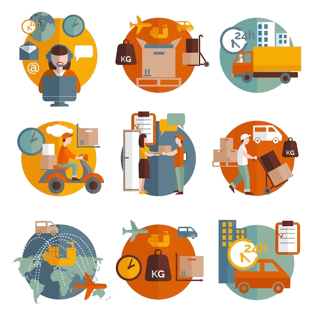 Conjunto de ícones de conceito de logística Vetor grátis