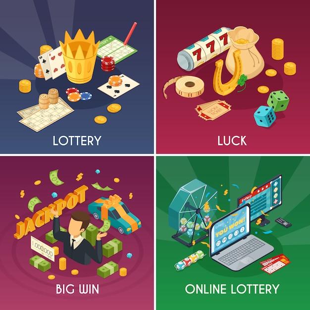 Conjunto de ícones de conceito de loteria com sorte e ganhar símbolos isométrica vector isolado ilustração Vetor grátis