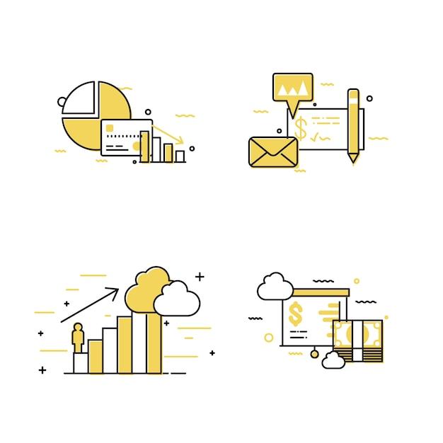 Conjunto de ícones de conceito de negócio de diagrama Vetor Premium