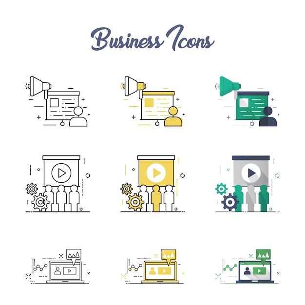 Conjunto de ícones de conceito de negócio Vetor Premium