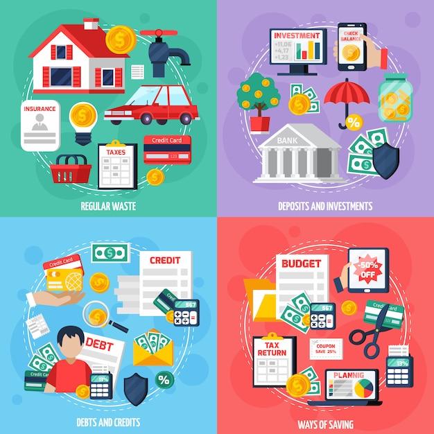 Conjunto de ícones de conceito de orçamento pessoal Vetor grátis