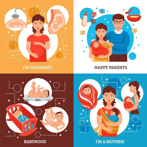 Conjunto de ícones de conceito de pais Vetor grátis