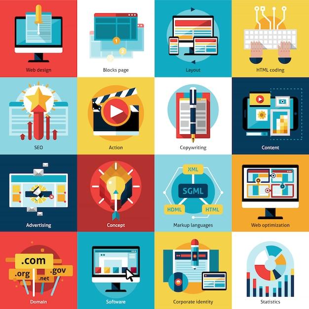Conjunto de ícones de conceito de processo criativo Vetor grátis
