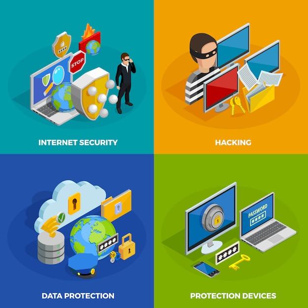 Conjunto de ícones de conceito de proteção de dados Vetor grátis