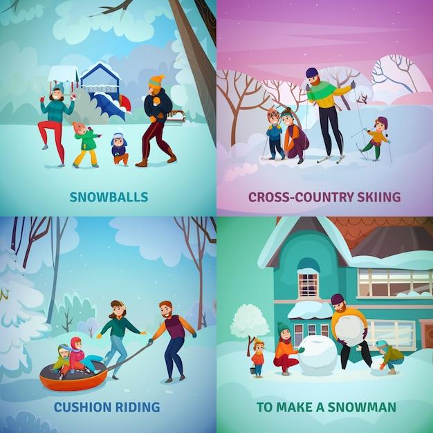 Conjunto de ícones de conceito de recreação de inverno Vetor grátis