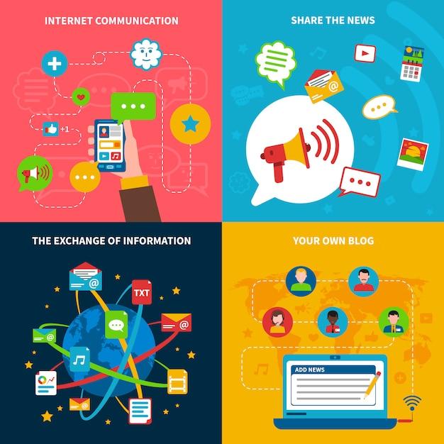 Conjunto de ícones de conceito de rede social Vetor grátis