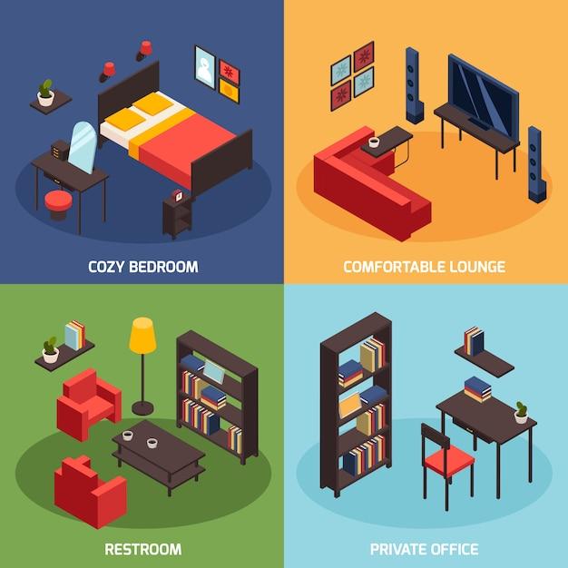 Conjunto de ícones de conceito de sala de estar Vetor grátis