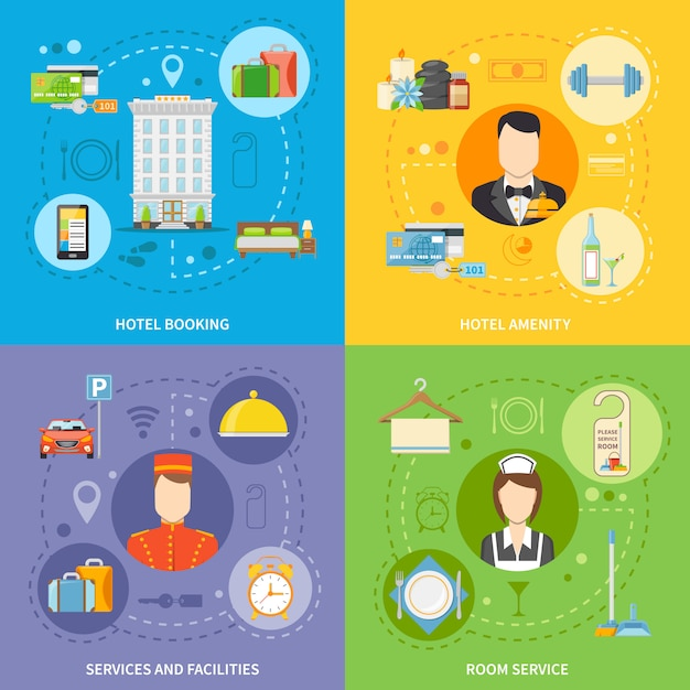 Conjunto de ícones de conceito de serviço de hotel Vetor grátis