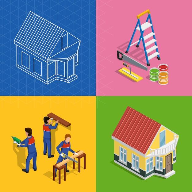 Conjunto de ícones de conceito isométrica de renovação Vetor grátis
