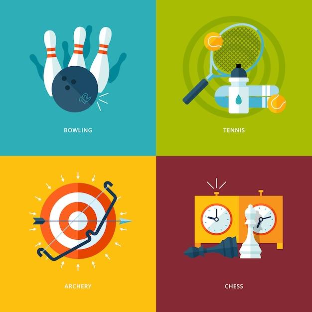 Conjunto de ícones de conceito para tipos de esportes. ícones para jogar boliche, tênis, tiro com arco, xadrez. Vetor Premium